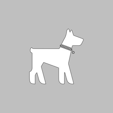 Dog Simple line vector button. Thin line illustration icon. White outline symbol on grey background