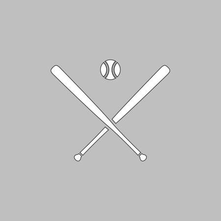 baseball Simple line vector button. Thin line illustration icon. White outline symbol on grey background