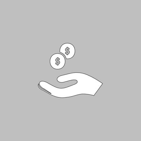avarice: beggar Simple line vector button. Thin line illustration icon. White outline symbol on grey background Illustration