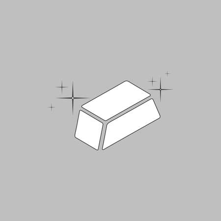 gold bars Simple line vector button. Thin line illustration icon. White outline symbol on grey background