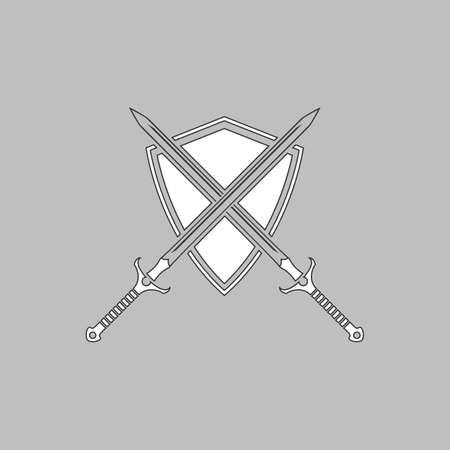 heraldry Simple line vector button. Thin line illustration icon. White outline symbol on grey background