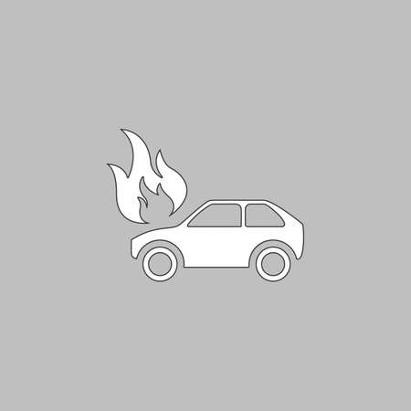 insured: insurance Simple line vector button. Thin line illustration icon. White outline symbol on grey background Illustration