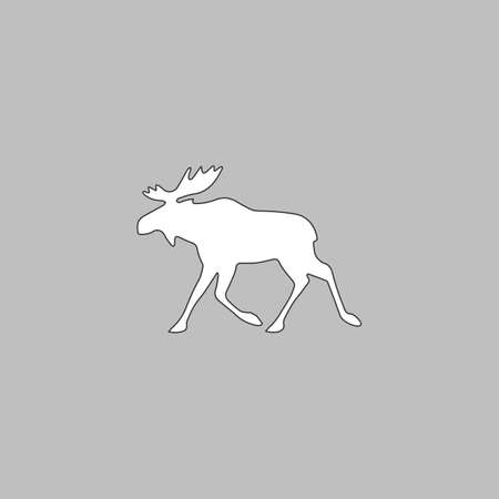 moose symbol: Moose Simple line vector button. Thin line illustration icon. White outline symbol on grey background