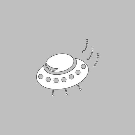 stranger: UFO Simple line vector button. Thin line illustration icon. White outline symbol on grey background