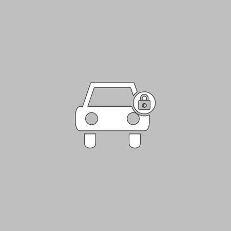 car lock: Car lock Simple line vector button. Thin line illustration icon. White outline symbol on grey background