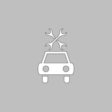 disk break: Car service Simple line vector button. Thin line illustration icon. White outline symbol on grey background