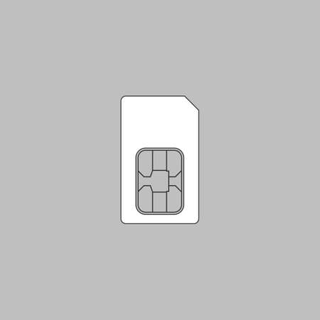 prepaid: Sim card Simple line vector button. Thin line illustration icon. White outline symbol on grey background Illustration