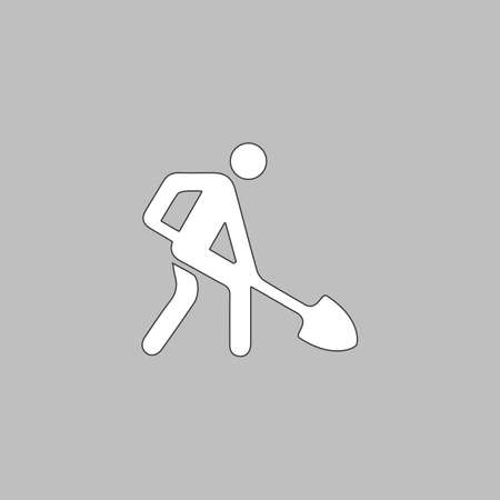 danger ahead: Digging man Simple line vector button. Thin line illustration icon. White outline symbol on grey background Illustration