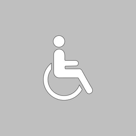 Disabled Simple line vector button. Thin line illustration icon. White outline symbol on grey background Illustration