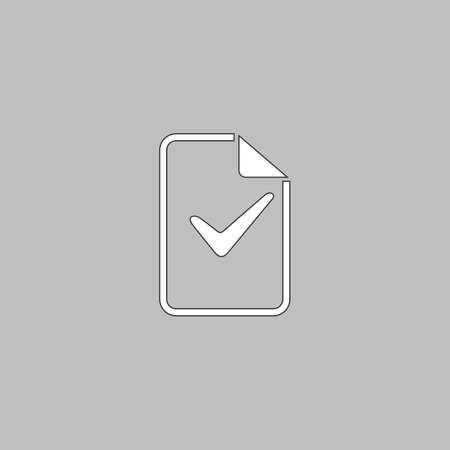 glyph: Ok glyph Simple line vector button. Thin line illustration icon. White outline symbol on grey background