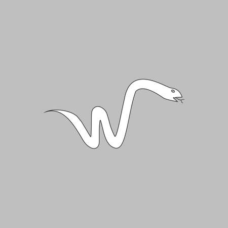 forked tongue: Snake Simple line vector button. Thin line illustration icon. White outline symbol on grey background Illustration