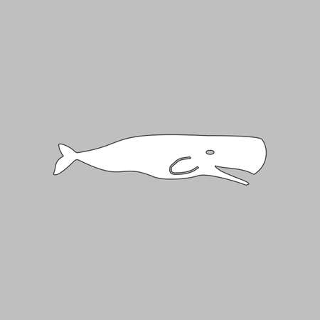 grampus: whale Simple line vector button. Thin line illustration icon. White outline symbol on grey background
