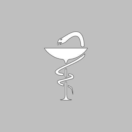 taught: Pharmacy Simple line vector button. Thin line illustration icon. White outline symbol on grey background
