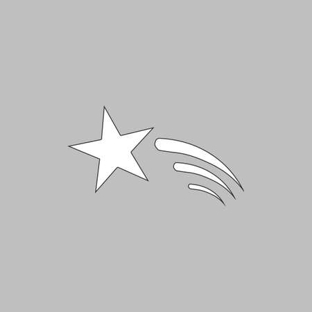 Meteor Simple line vector button. Thin line illustration icon. White outline symbol on grey background Illustration