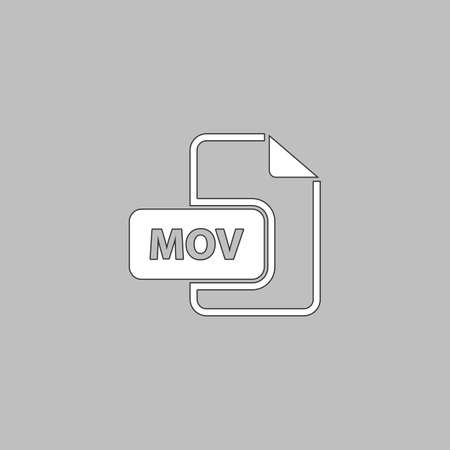 mpg: MOV Simple line vector button. Thin line illustration icon. White outline symbol on grey background