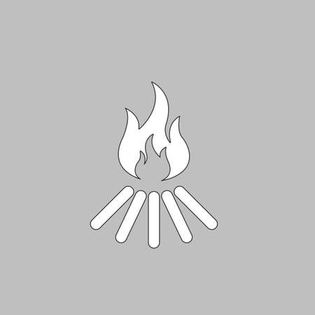 Bonfire Simple line vector button. Thin line illustration icon. White outline symbol on grey background