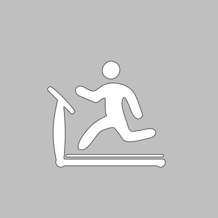 lose: Treadmill Simple line vector button. Thin line illustration icon. White outline symbol on grey background Illustration