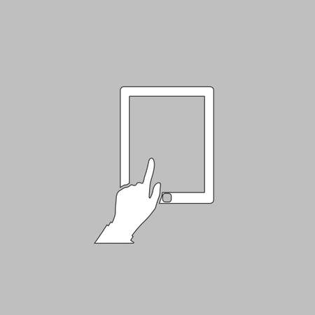 pictogrammes: click tablet Simple line vector button. Thin line illustration icon. White outline symbol on grey background