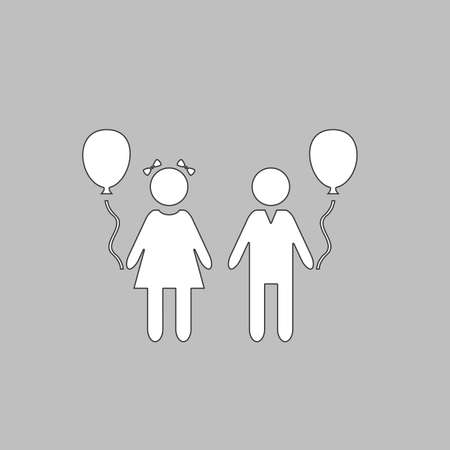 Children Simple line vector button. Thin line illustration icon. White outline symbol on grey background