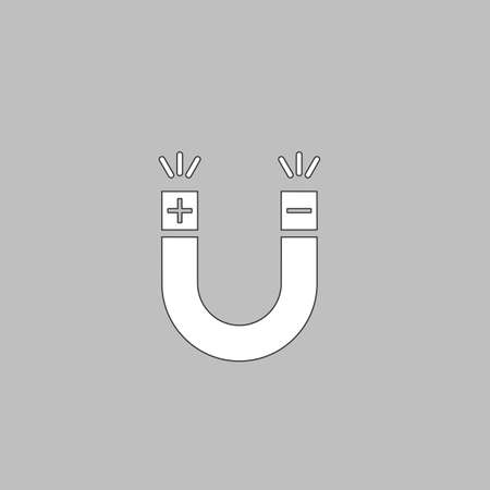 permanent: Magnet Simple line vector button. Thin line illustration icon. White outline symbol on grey background
