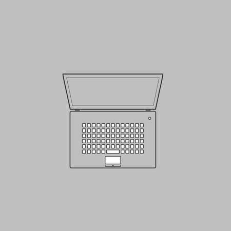 netbook: netbook Simple line vector button. Thin line illustration icon. White outline symbol on grey background
