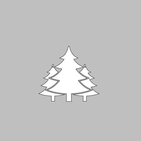 chritmas spruce Simple line vector button. Thin line illustration icon. White outline symbol on grey background Stock Illustratie