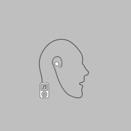 live stream listening: Favorite music Simple line vector button. Thin line illustration icon. White outline symbol on grey background Illustration