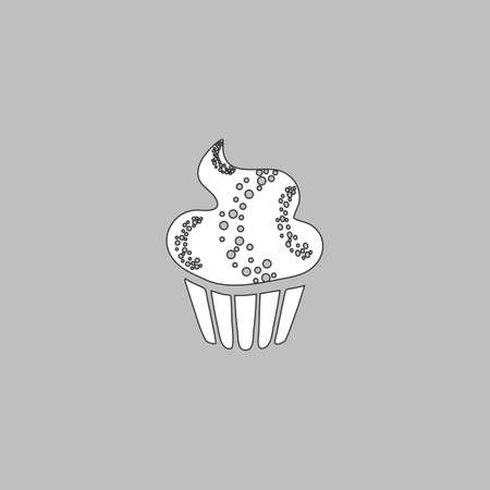 Sweet cupcake Simple line vector button. Thin line illustration icon. White outline symbol on grey background Illustration