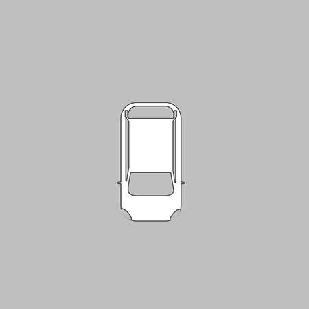cabrio: top view car Simple line vector button. Thin line illustration icon. White outline symbol on grey background Illustration