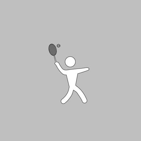 tennis Simple line vector button. Thin line illustration icon. White outline symbol on grey background