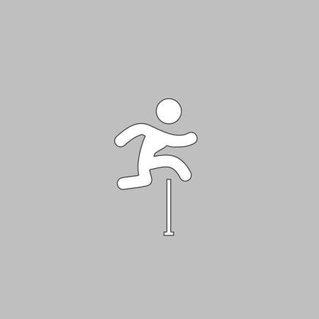 Steeplechase Simple line vector button. Thin line illustration icon. White outline symbol on grey background