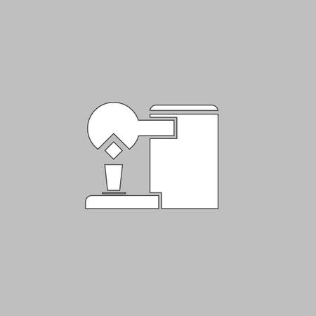 coffee maker: Coffee Maker Simple line vector button. Thin line illustration icon. White outline symbol on grey background