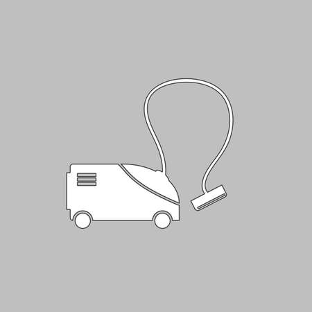 vac: hoover Simple line vector button. Thin line illustration icon. White outline symbol on grey background