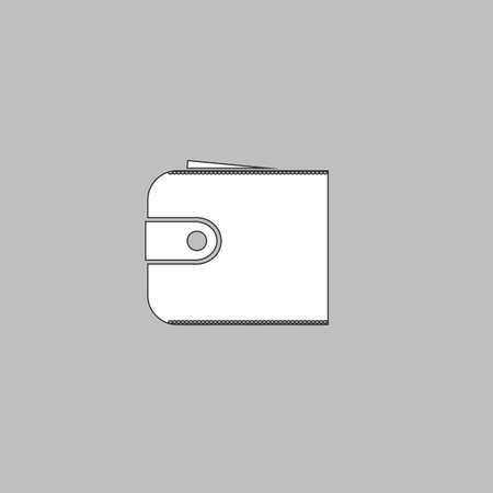 pouch: pouch Simple line vector button. Thin line illustration icon. White outline symbol on grey background