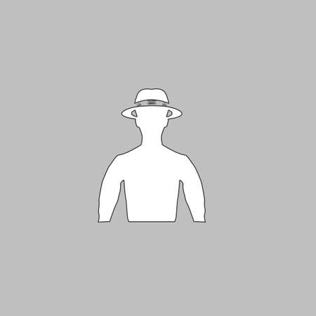 macho: macho Simple line vector button. Thin line illustration icon. White outline symbol on grey background