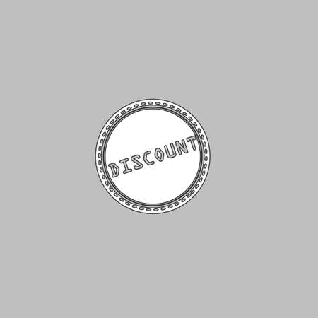 abatement: Discount Simple line vector button. Thin line illustration icon. White outline symbol on grey background