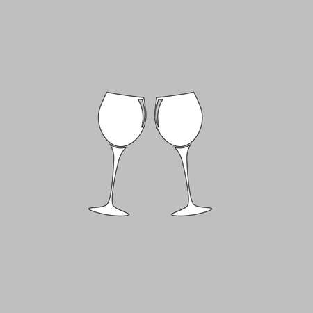 clink: clink glasses Simple line vector button. Thin line illustration icon. White outline symbol on grey background Illustration