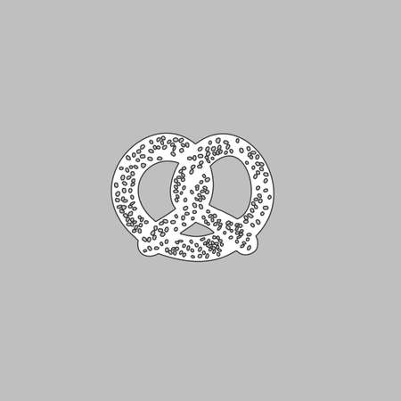 bretzel: Pretzel Simple line vector button. Thin line illustration icon. White outline symbol on grey background Illustration