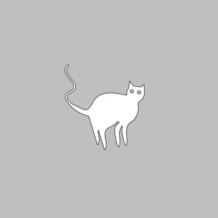 superstitious: Evil Cat Simple line vector button. Thin line illustration icon. White outline symbol on grey background