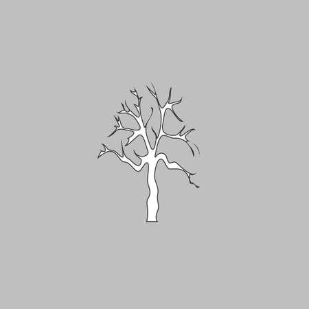Alter Baum Einfache Linie Vektor-Taste. Dünne Linie Illustration Symbol. Weiß Umriss-Symbol auf weißem Hintergrund