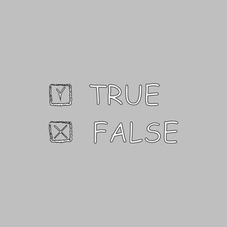 validez: Línea simple botón de verdadero y falso vectorial. Delgada línea de icono de la ilustración. símbolo del esquema blanco sobre fondo gris