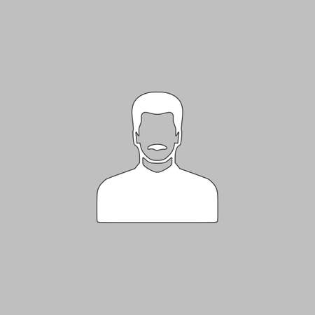 mustached man Simple line vector button. Thin line illustration icon. White outline symbol on grey background Illustration