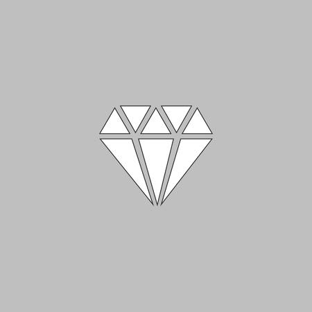 spoil: Diamond Simple line vector button. Thin line illustration icon. White outline symbol on grey background