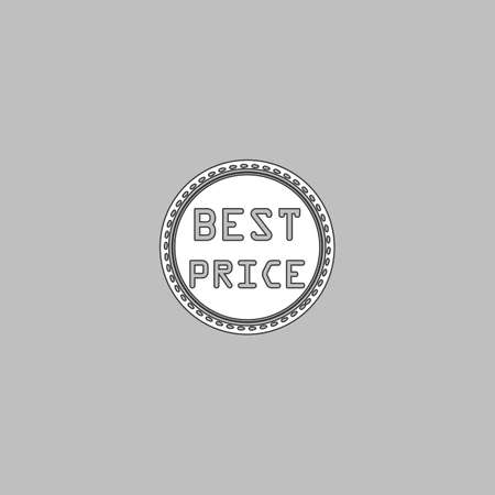 contentment: Best Price Simple line vector button. Thin line illustration icon. White outline symbol on grey background