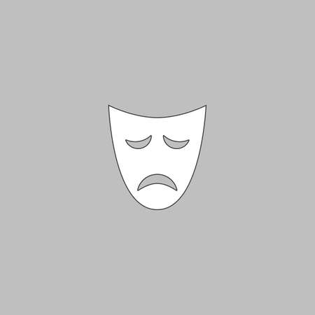 tragedy mask: tragedy mask Simple line vector button. Thin line illustration icon. White outline symbol on grey background
