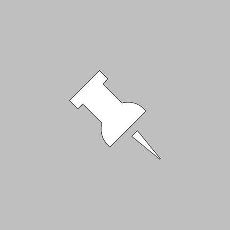 white pushpin: Pushpin Simple line vector button. Thin line illustration icon. White outline symbol on grey background