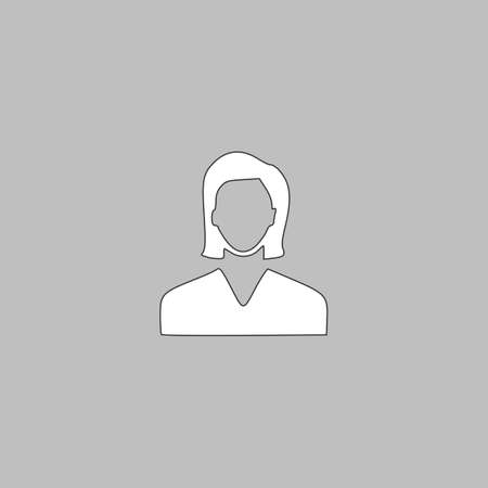Female user Simple line vector button. Thin line illustration icon. White outline symbol on grey background Illustration