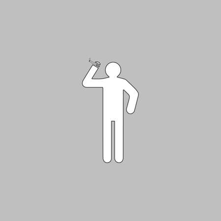 toxic product: smoker Simple line vector button. Thin line illustration icon. White outline symbol on grey background