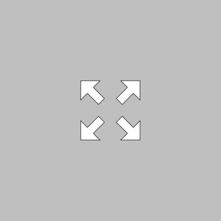 geocache: four arrows Simple line vector button. Thin line illustration icon. White outline symbol on grey background Illustration