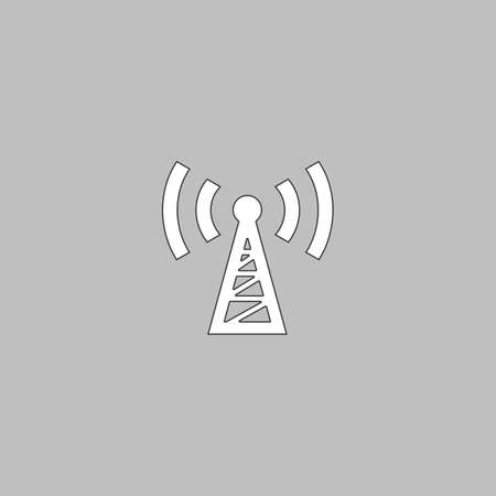 satellite transmitter: Transmitter Simple line vector button. Thin line illustration icon. White outline symbol on grey background